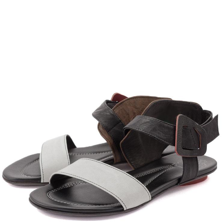 Think Bussal 82514 Damen-Sandale schwarz-weiß