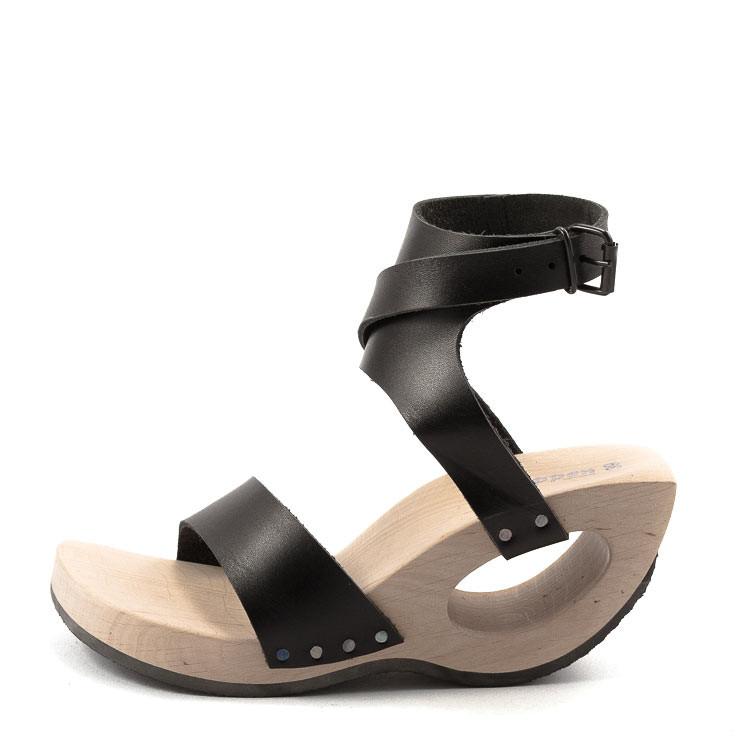 Trippen Bondage Holz Damen Sandale schwarz