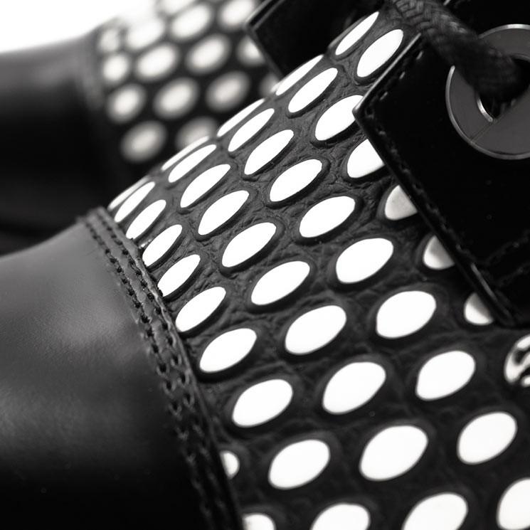 United Nude Damen-Schnürstiefelette Combat schwarz-weiß