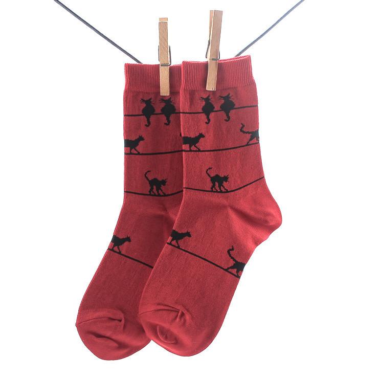 Crönert 16432 Miau Damen Socken dunkelrot