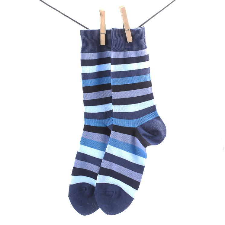 Crönert 26307 Herrensocke Stripes mit Weichbund blau