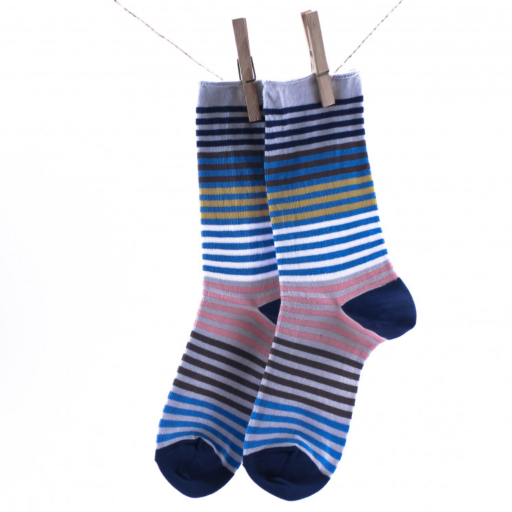 Crönert Longsocks Multicolor Ringel hellblau