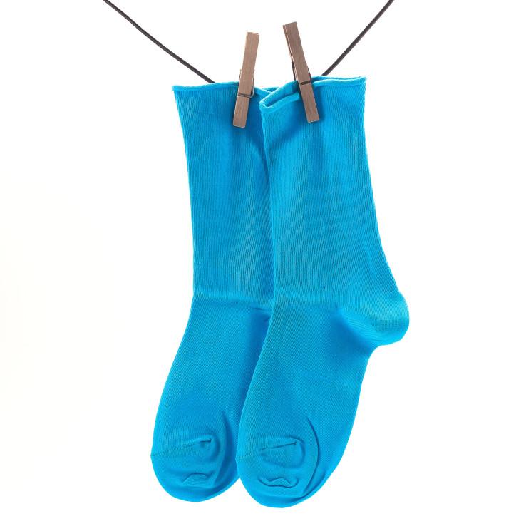 Crönert 18330 Longsocks Unifarben Damen hellblau