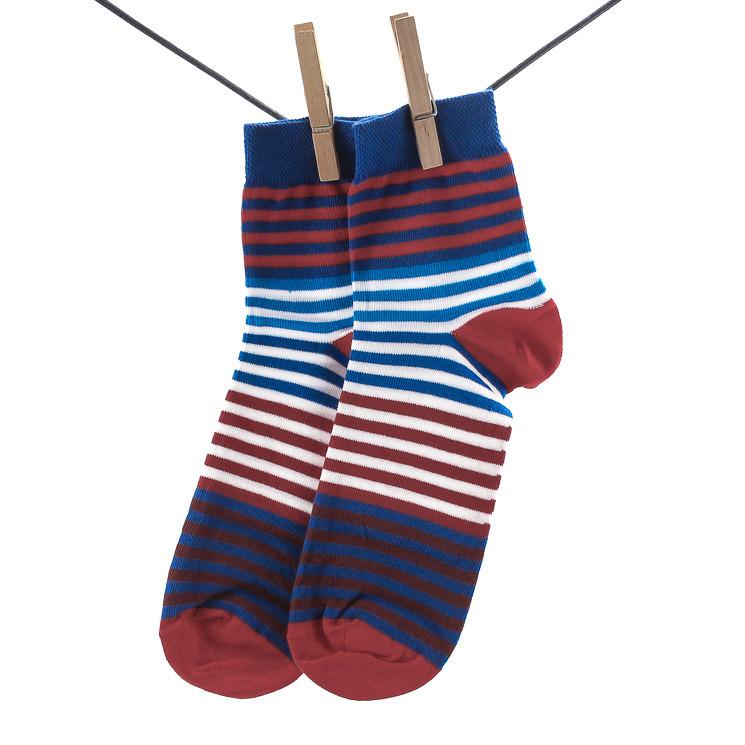 Crönert 26503 Herrensocke Sneaker mit Weichbund blau-rot