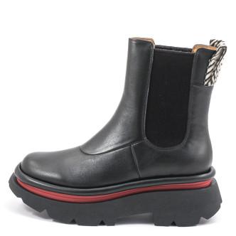 4CCCCees Crunch Chelsea Boot Damen Stiefelette schwarz-rot